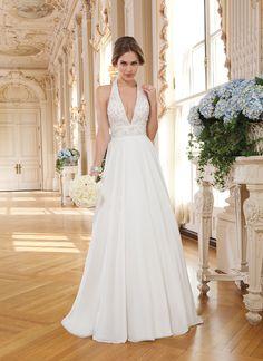 Lillian West lillian west style 6352 Chiffon A-line dress wedding highlighted with a halter neckline.