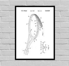 Tennis Racket Patent, Tennis Racket Poster, Tennis Racket Print, Tennis Racket Art, Tennis Racket Decor, Tennis Racket Blueprint, Tennis by STANLEYprintHOUSE  0.79 USD  This is a vintage patent print.  This poster is printed using high quality archival inks, and will be of museum quality. Any of these posters will make a great affordable gift, or tie any room together.  Please choose between different sizes and colors.  These posters are shipped in  ..  https://www.etsy.com/ca/list..