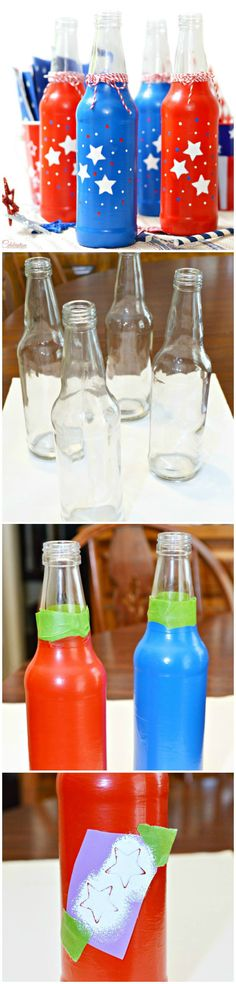 An easy tutorial on how to create Patriotic Soda Bottles for the 4th of July that are the perfect way to serve beverages.