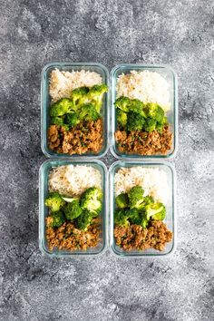 Korean Turkey Meal Prep in four glass meal prep containers on grey background Lunch Meal Prep, Meal Prep Bowls, Easy Meal Prep, Meal Preparation, Lunch Time, Lunch Recipes, Healthy Dinner Recipes, Healthy Snacks, Healthy Eating