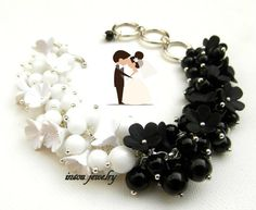 Black White Flower Bracelet Wedding Bracelet by insoujewelry