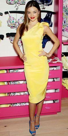 cdcbbca081e Miranda Kerr in bright yellow dress to help launch the latest Victoria's  Secret collection #BrianAtwoodHeels