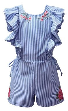 Spring 2018 Stripe Embroidered Romper Preorder 4 to 14 Years Baby Girl Dress Patterns, Dresses Kids Girl, Baby Dress, Kids Outfits, Cute Outfits, Young Fashion, Kids Fashion, Baby Boutique Clothing, Kids Frocks