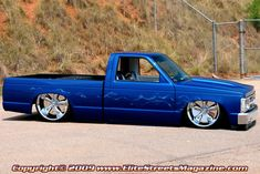 Elite Streets Magazine digs a clean lookin' ride, especially if it is an early model square body Chevy with big wheels and blue paint! 85 Chevy Truck, S10 Truck, Chevy Luv, Custom Chevy Trucks, Chevrolet Trucks, Pickup Trucks, Custom Cars, Show Trucks, Mini Trucks