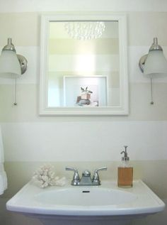 Striped walls for a powder room