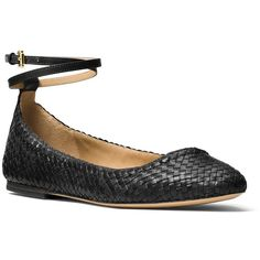 Michael Kors Collection Dunbar Woven Leather Flats ($425) ❤ liked on Polyvore featuring shoes, flats, black, wrap shoes, ballerina flats, wrap around shoes, michael kors flats and round cap