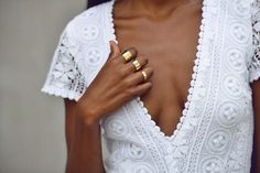 White with gold rings.