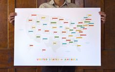 American Flags Map by These Are Things (you could also make your own version, would be a great way to learn states and/or their capitals, and you could do it with individual states and their major cities. love this idea!)