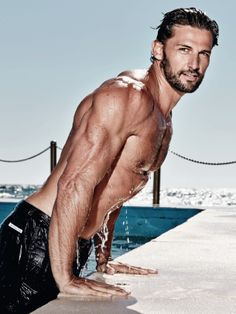 Tim Robards by Jason Ierace for Men's Health Australia (March 2014) #TimRobards #JasonIerace #Australian #malemodel #model #fitness #fitnessmodel #ChadwickModels #TheBachelor #MensHealth #beard #pecs #chest #abs #muscles #swim #swimwear #pool #water