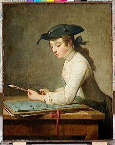 Chardin - JEUNE DESSINATEUR TAILLANT SON CRAYON Période création/exécution2e quart 18e siècle
