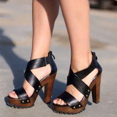 Women's Lelia Black Open Toe Chunky Heels Rivets Platform Sandals Last Chance! Women's Lelia Black Open Toe Chunky Heels Rivets Platform Sandals [. Lace Up Heels, Pumps Heels, Stiletto Heels, Black Heels, Stilettos, Crazy Shoes, Me Too Shoes, Buy Shoes, Mode Shoes