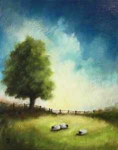 Three Sheep, Original Oil Painting Welsh Landscape by Jane Palmer by JanePalmerArt on Etsy