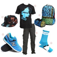 Volcom Hat 574 Windbreaker Sneakers by New Balance Stay Fresh Tee by God Given Wild Deluxe Trooper Backpack by Sprayground Twill Cargo Pants by Panda Socks by Enjoi Stylish Mens Fashion, Dope Fashion, Fashion Killa, Dope Outfits, Urban Outfits, Casual Outfits, Panda Socks, Jeans And Sneakers, Outfit Combinations