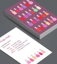 """You've Nailed It: salon owners, nail technicians and manicurists can entice new clients in the market for a manicure with these """"wall of colour"""" Business Cards. #moocards #luxebymoo #businesscard"""