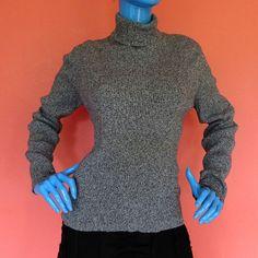 Women Ribb Knit Turtleneck M 8 10 12 Long Sleeve Marl Sweater Preppy Modest  #KarenScott #TurtleneckMock #Casual