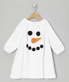 White Snowman Minky Dot Peasant Dress - Infant, Toddler & Girls