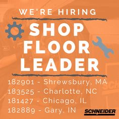 We have Shop Floor Leader openings in these locations across the US! Enter the keyword at schneiderjobs.com to learn more and apply! Mechanic Jobs, Job Search, How To Apply, Flooring, Shop, Wood Flooring, Floor, Store