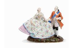 Meissen, Krinolinengruppe, Porzellan, 19. Jahrhundert Porzellan, polychrome Aufglasurmalerei, tei