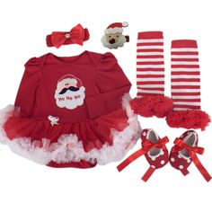 Baby Girl Christmas Outfits Toddler Party Dress Newborn Costumes Suit For Kids US Size 9M Red