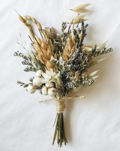 A sweet boutonniere of wheat, lavender, oregano, and assorted dried blooms. This listing is for ONE boutonniere. Two bout pins included. We recommen Floral Wedding, Fall Wedding, Wedding Bouquets, Wedding Flowers, Purple Wedding, Wildflower Bridal Bouquets, Rustic Bridal Bouquets, 50s Wedding, Rustic Bouquet