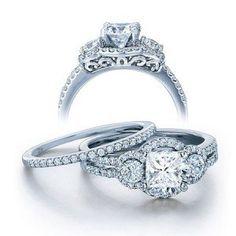 2 Carat Princess cut Diamond Wedding Ring Set on10K White Gold - Listing price: $4,206.48 Now: $1,789.99