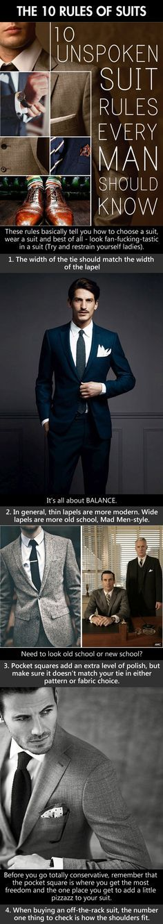 The 10 Rules of Suits #menstyle #infographic #menswear #suit