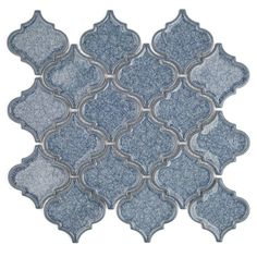 Splashback Tile Roman Selection Iced Blue Lantern Glass Mosaic Tile - 3 in. x 6 in. Tile Sample-M1A5 - The Home Depot