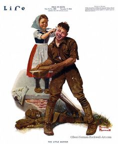 """Norman Rockwell - The Little Mother, 11/7/1918 aka. """"French Girl Washing Soldier's Ear"""" for Life Magazine, cover"""
