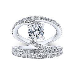 Nova 14k White Gold Round Split Shank Engagement Ring angle 4