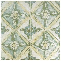 Merola Tile Klinker Retro Blanco Dafodil Encaustic in. Ceramic Floor and Wall Quarry Tile, White/ Tan and Aqua / Medium Sheen Quarry Tiles, Stone Tiles, Black Interior Doors, Interior And Exterior, Cottage Exterior, Tile Projects, Tiles Texture, Ceramic Wall Tiles, Home Depot