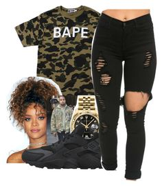 """""""95 till infinity✨"""" by maiyaxbabyyy ❤ liked on Polyvore featuring A BATHING APE, Rolex and NIKE"""