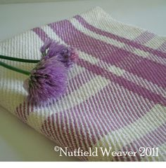 Nutfield Weaver's lavender and white twill kitchen tea towels
