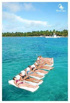 Ladies relaxing on the ocean! Only at the Doctor Fish Ocean Spa excursion in Punta Cana, Dominican Republic.