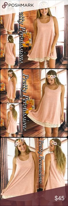 """NWT Blush Lace Crochet Trim Tent Dress Tunic LAST ONE ‼️NWT Blush Lace Crochet Trim Sleeveless Tent Dress Tunic  Available in sizes: S (M, L SOLD OUT) Measurements taken from a Small Length: 33""""/34"""" (front/back) Bust: 36"""" Waist: 50""""  Features • double layered vintage inspired lace crochet trim • lightweight knit • breathable soft material  • blush color, cream crochet lace trim • scoop neckline  • sleeveless • non-sheer  Bundle discounts available  No pp or trades  Item # 1/209190450 BLACK…"""