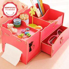 Encantadora romántica diy caja de madera maquillaje creativo organizador caja de almacenamiento de escritorio de la joyería taquilla acabado caja organizador de escritorio(China (Mainland))