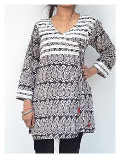 Cotton Bagh Fusion Top in Angarakha style with flat stripes in front