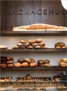 Lagkagehuset baked goods,A selection of breads from the flagship location of Lagkagehuset, a prominent bakery chain in Copenhagen.