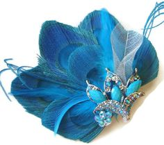 Turquoise Peacock Feather ATLANTIS QUEEN Bridal by maggpieseye, $35.00