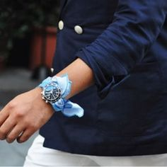 Love that handkerchief as watch strap. The tiniest detail sometimes creates the most mega interest…
