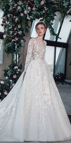 tony ward wedding dresses 2019 pricess with long sleeves illusion floral appliques Tony Ward Wedding Dresses, Tony Ward Bridal, Designer Wedding Dresses, Wedding Outfits, Summer Dresses For Women, Fall Dresses, Bridal Dresses, Flower Girl Dresses, Long Dresses