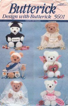Butterick 5601 Greeting Bear 6 Outfits Angel Bride Grad Get Well Ballerina Cupid #Butterick
