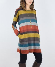Rust & Mustard Stripe Elbow Patch Tunic -A Good idea for sweaters to cut apart and sew stripes of the sweaters together