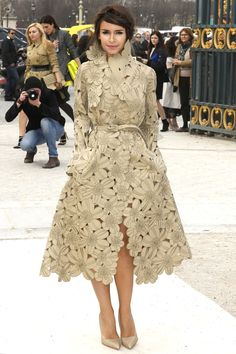 Miroslava Duma streetstyle. I just died and went to laser-cut flowers heaven.