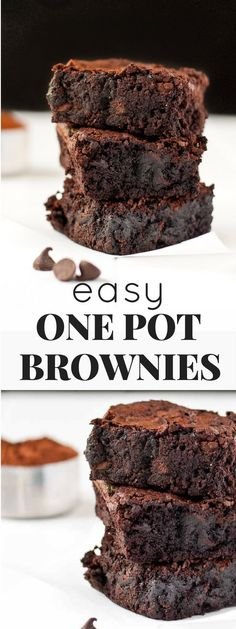 This is the EASIEST recipe for One Pot Fudge Brownies. They're super chocolatey, rich, and dotted with melty chocolate chips. Save this one for when a craving strikes! #brownies #onepotbrownies #chocolatedesserts #brownierecipe