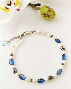 Kyanite and Freshwater Pearl Bracelet