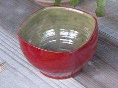 Red/Green ceramic bowl. Wheel thrown by OnePearTree  https://www.etsy.com/listing/191648982/redgreen-ceramic-bowl-wheel-thrown-and?ref=shop_home_active_6