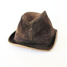 "Vintage Suede Leather Hat Fedora Greb Dark Brown Mens 22 1/2"" Circumference #Greb #Fedora"