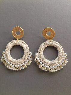 Wedding Hoop clip on earrings les bonbons earrings bead ball hoop La La earring white earrings : nandmade beaded jewelry silver hoop silk hoop earrings, gold bead earrings Bar Stud Earrings, White Earrings, Circle Earrings, Bead Earrings, Clip On Earrings, Statement Earrings, Fabric Jewelry, Beaded Jewelry, Silver Jewelry