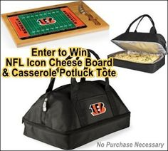 link: http://virl.io/jvyeSBWS     Win any NFL Team Icon Cheese Board & Casserole Potluck Tote (Valued at $105)