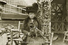 Ready for the Dog Show, 11 X 14 inch Reprint of a Vintage Photograph of Woman with Her French Bulldog on Etsy, $19.95